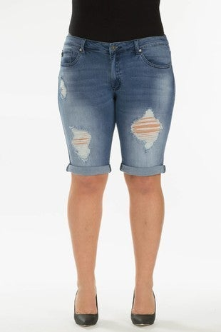 KANCAN DISTRESSED DENIM BERMUDA SHORTS