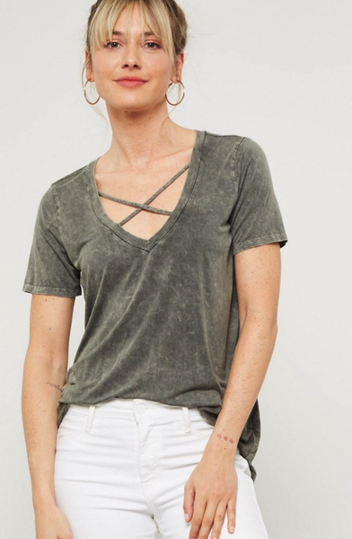Stormy V-Neck Criss Cross top