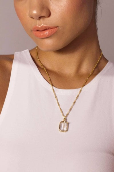 Hand Soldered Crystal and Cross Necklace