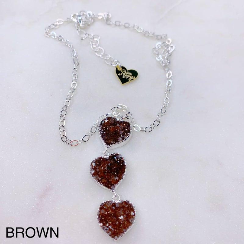 Love Poppy 3 Tier Druzy Heart Necklace - Silver ( 4 Colors)