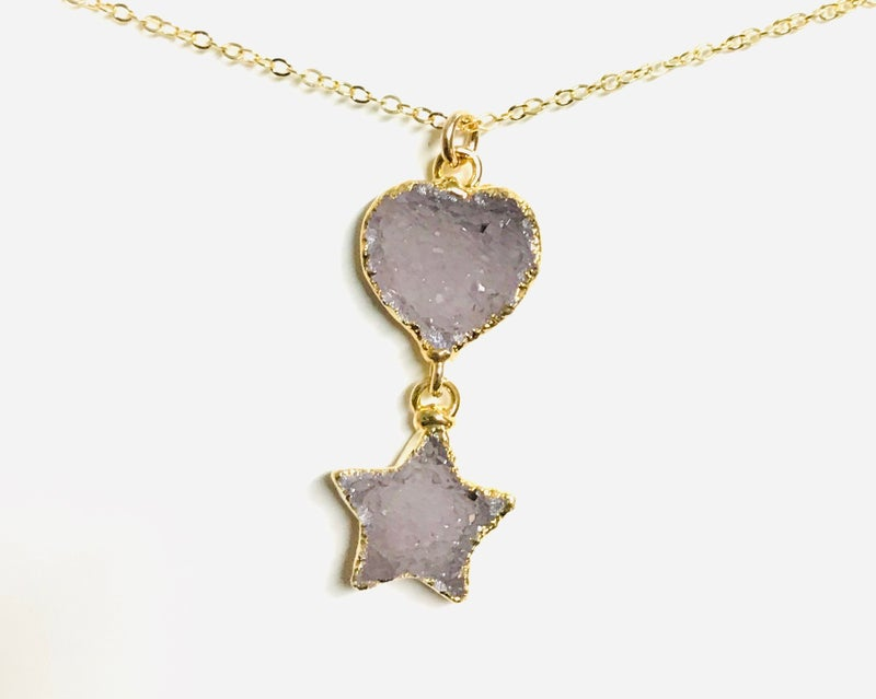 Gold Druzy Heart & Star Necklace - 4 Colors!