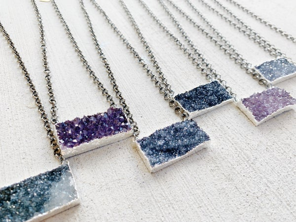 Gunmetal Druzy Rectangle Necklace - Silver