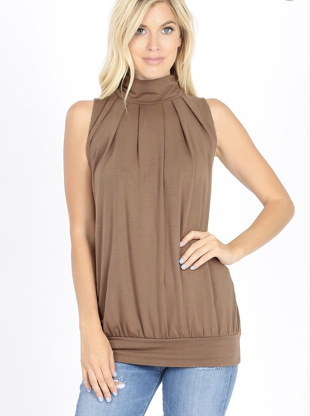 Simply Put High Neck Pleated Top