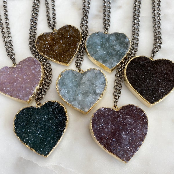 Custom Heart Druzy Necklace - Gold (7 Colors)