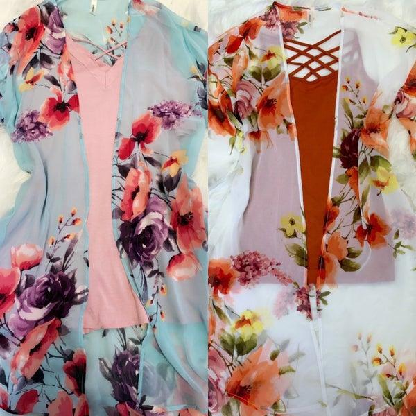 Chiffon Printed Kimono with Side Slit