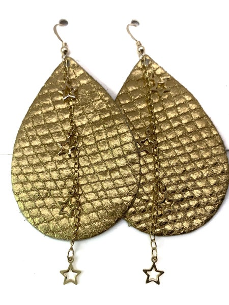 Gold Star Leather & Chains Earrings