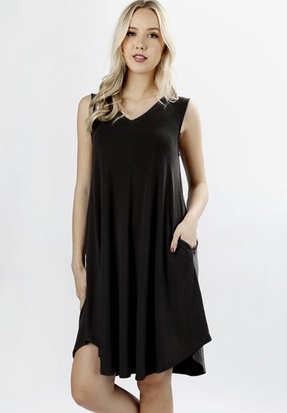 V-NECK TANK DRESS WITH POCKETS