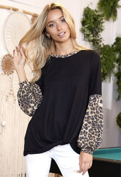 Just Like That Leopard Twist Front Bell Sleeve Top
