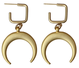 Detail and Tassel Earrings: Gold Crescent on Square Stud