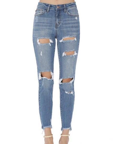 Judy Blue Mid-Wash Destroyed Boyfriend Jeans