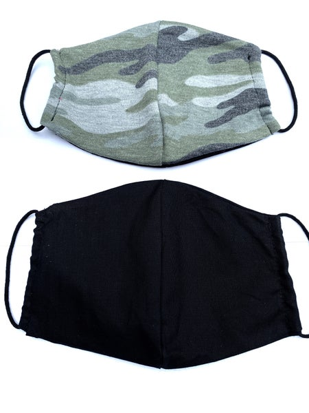 Green Camo + Black Facial Masks - 2 Pack!