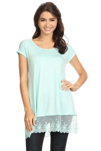 LACE BOTTOM SHORT SLEEVE TOP