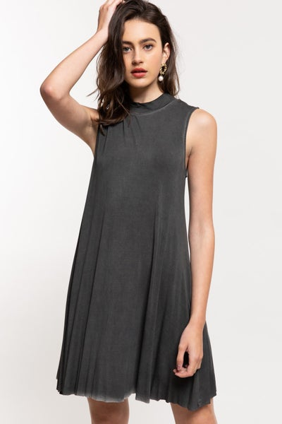 POL MOCKNECK SLEEVELESS SWING DRESS