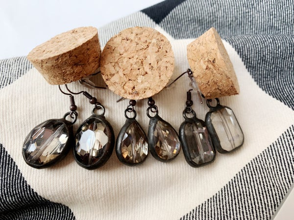 Antique Hand Soldered Crystal Earrings- Smokey