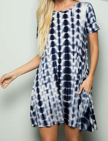 TIE DYE PRINT DRESS WITH SIDE POCKET