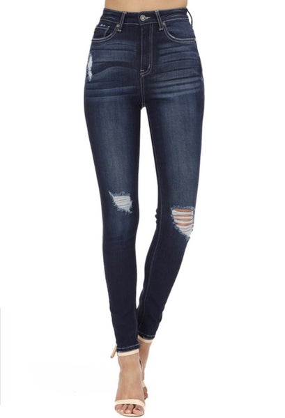 Straight To The Top Distressed High Rise Jeans - Dark