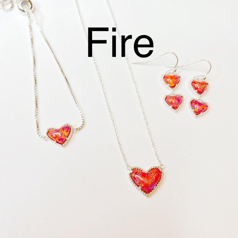 BAR Exclusive Opal Heart NECKLACE! - 10 Colors!
