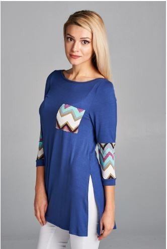 3/4 Sleeve Top with Chevron Contrast