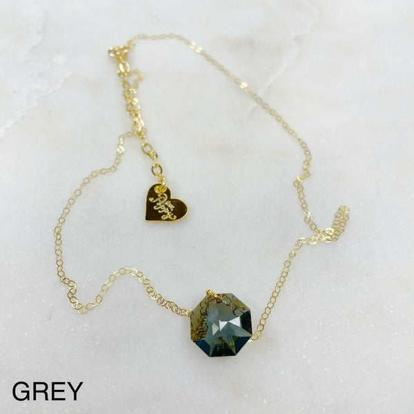 Love Poppy Hexagon Swarovski Necklace - Gold (2 Colors)
