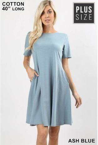 SHORT SLEEVE A-LINE DRESS