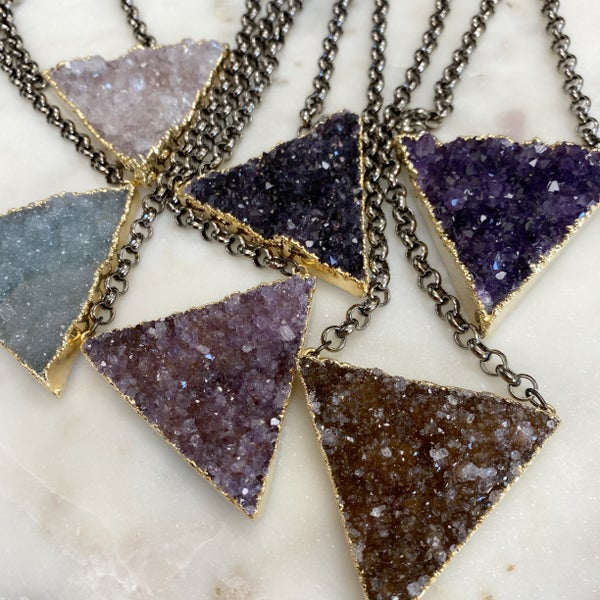 Custom XL Druzy Triangle Necklace - Gold (6 Colors)
