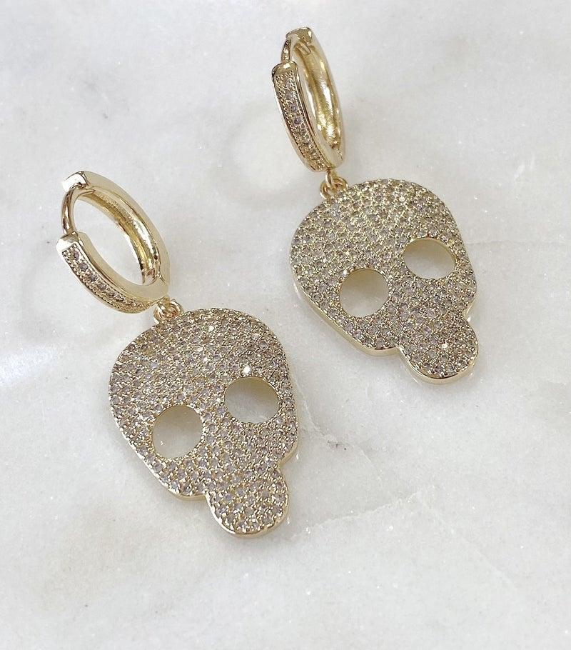 Skully Earrings - Gold