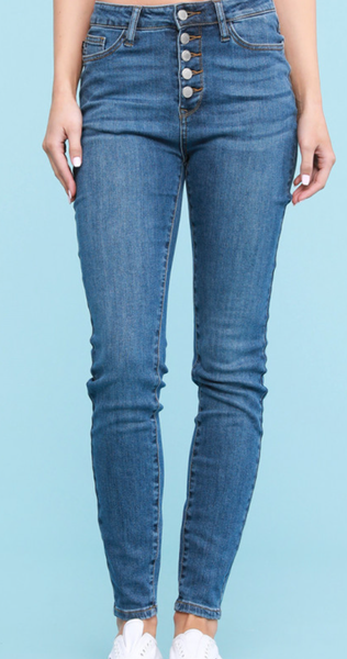 Judy Blue Basic Girl Buttonfly Skinny Jeans