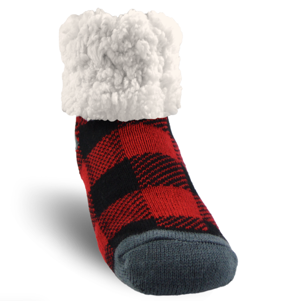Pudus Red Buffalo Plaid Slipper Socks - Kids