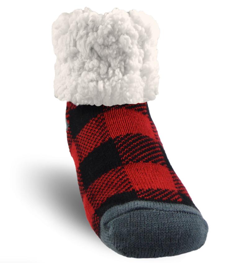 Pudus Red Buffalo Plaid Slipper Socks - Kids
