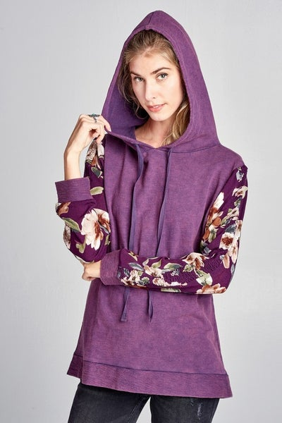 Floral mineral wash pullover hoodie