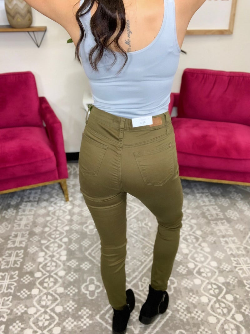 Judy Blue All You High Rise Skinny Jeans - Olive