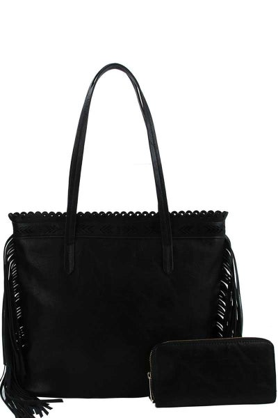 2 IN ONE SIDE TASSEL TOTE BAG