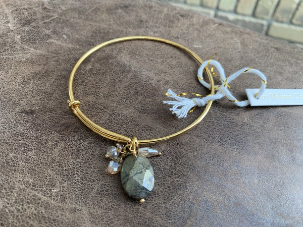 Gold Bangle with Tear Drop Stone