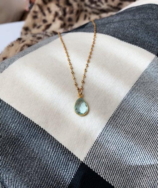 Dainty Gold Chain with Tear Drop Stone- Aqua Quartz