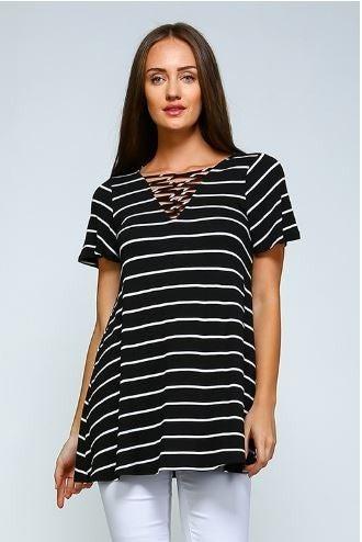Striped V-Neck Tunic Top
