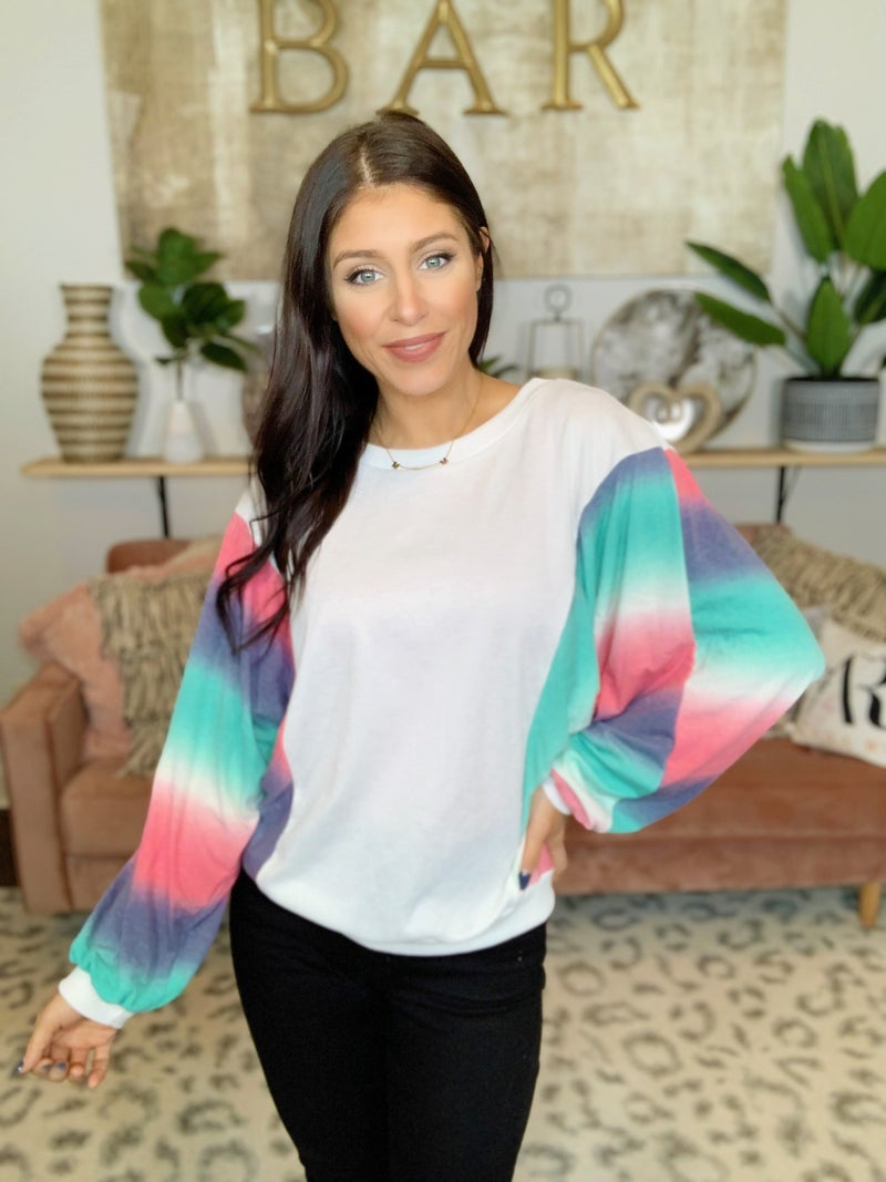 Kaleidoscope Rainbow Sleeves Top