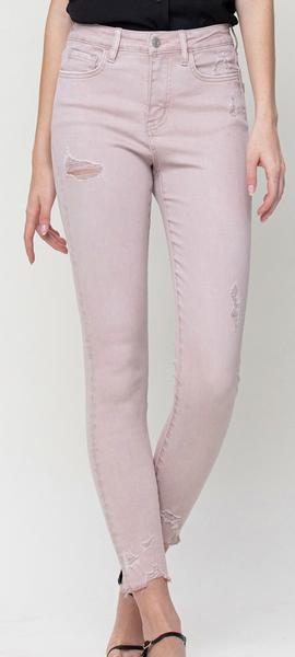 Vervet  Slay Girl High Rise Skinny Jeans - Blush