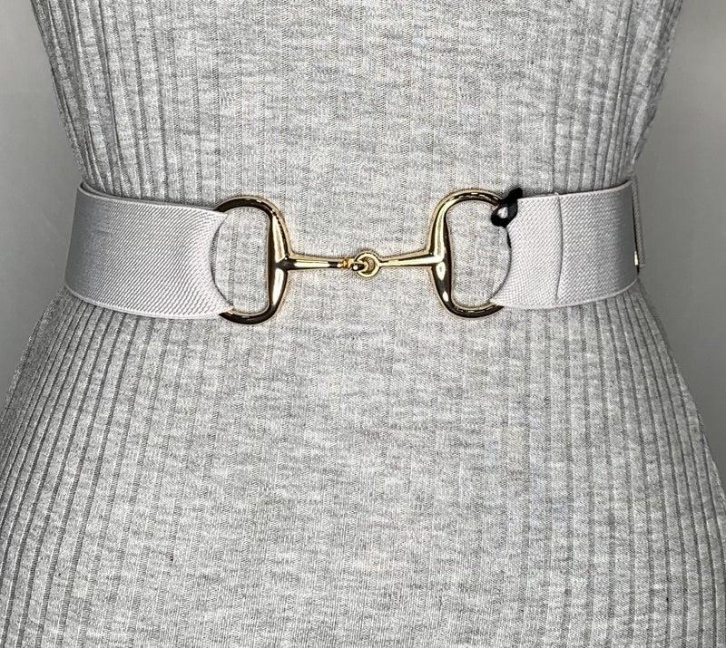 """1.5"""" Gold Snaffle Elastic Belt - 6 Colors!"""