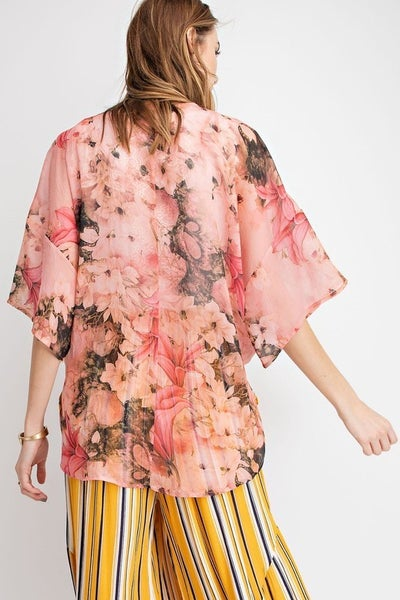 WIDE SLEEVES PRINTED SOFT CHIFFON TIE FRONT KIMONO