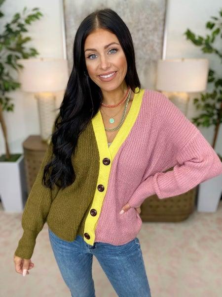 Color Lock Sweater Cardigan