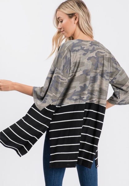 Just A Little Bit Wild Camo And Stripe Cardigan