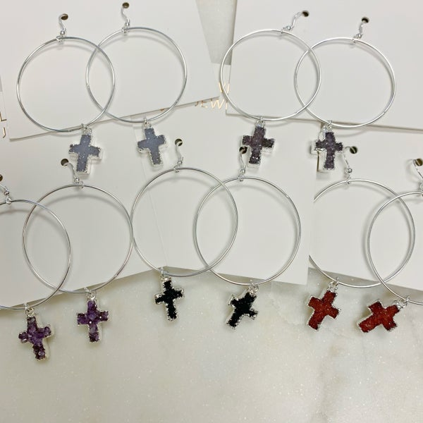Love Poppy Druzy Cross Hoops - Silver