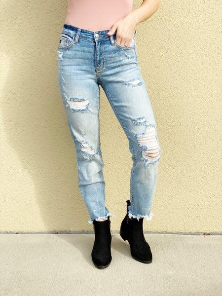 Judy Blue Real Deal Boyfriend Bleach Splash Jeans