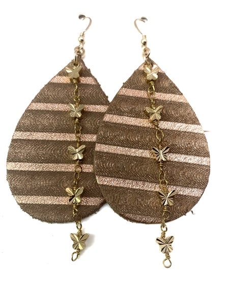 Gold Stripe And Butterfly Leather & Chains Earrings