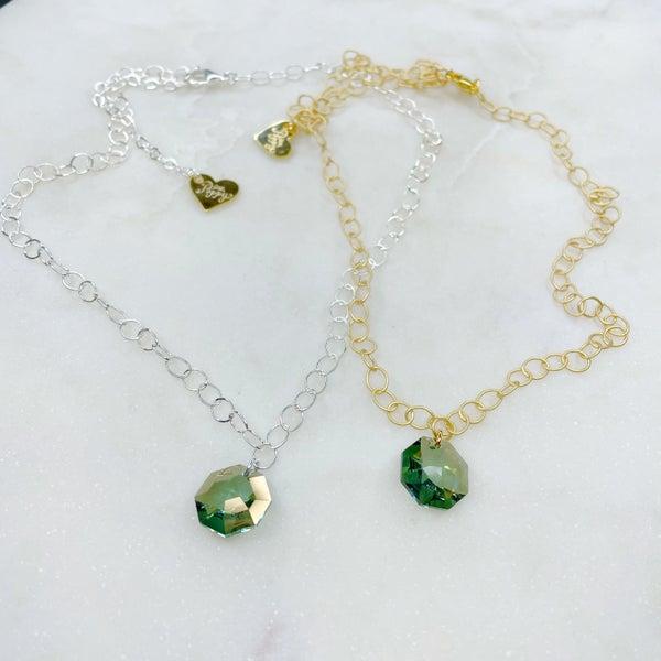 Love Poppy Hexagon Swarovski Plate Chain Necklace - (2 Colors)