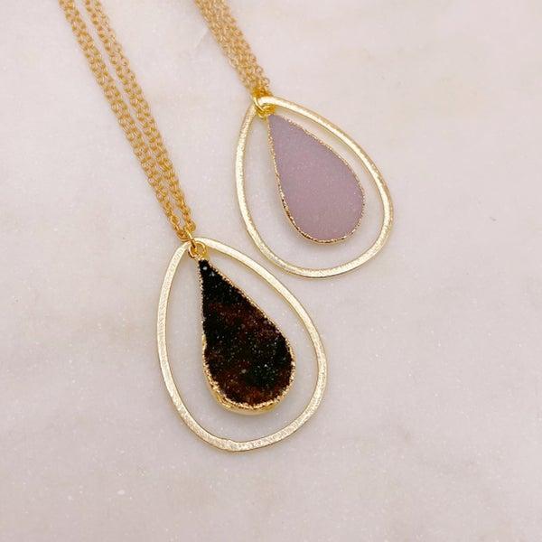 Love Poppy Layered Teardrop druzy Necklace - Gold (2 Colors)