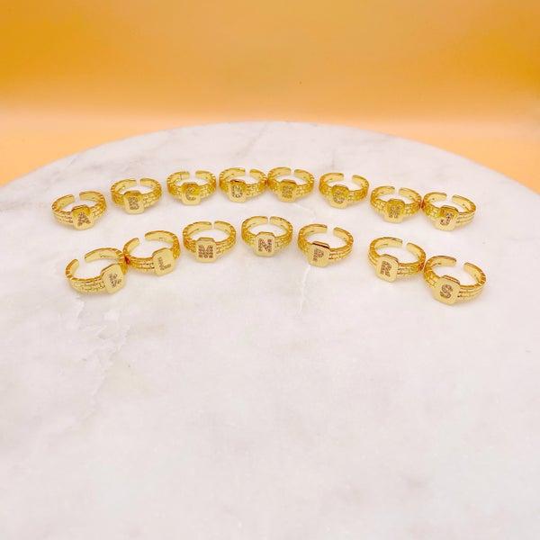 By Alexa Rae Monagram Ring Gold