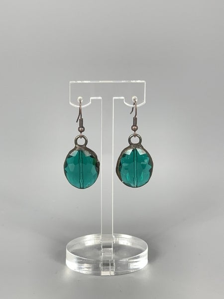 Antique Hand Soldered Crystal Earrings- Teal