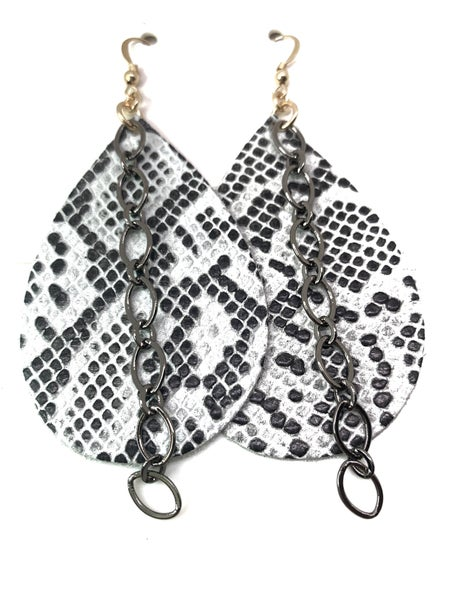 White Snake Leather & Chains Earrings