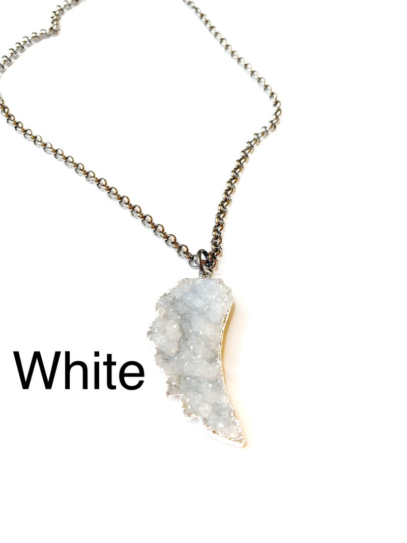 Gunmetal/Silver Angel Wing Druzy Necklace! - 4 Colors!